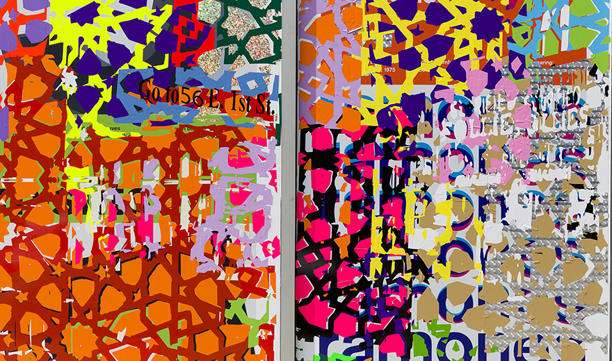 <Em><strong>Interiors (detail)</em></strong> <br>L'Apicio 13 East 1st Street <br> 12' x 27',  self-adhesive vinyl on window