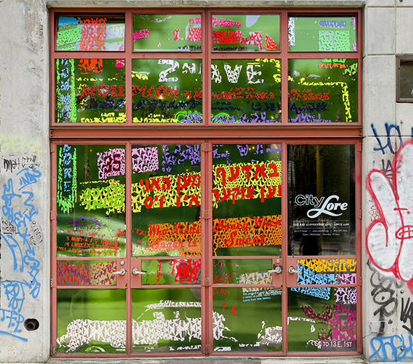 <em><strong> marquees</em> </strong> <br>City Lore 56 east First Street <br> self-adhesive vinyl on window, 13' x 12'